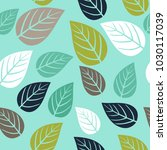 seamless pattern with leaf.... | Shutterstock .eps vector #1030117039