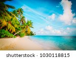 tropical sand beach with palm... | Shutterstock . vector #1030118815