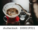 making pour over coffee with a... | Shutterstock . vector #1030119511