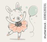 cute bunny ballerina dancing... | Shutterstock .eps vector #1030120231