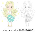 set of hand drawn beautiful... | Shutterstock .eps vector #1030124485