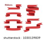 blue glossy ribbon banners set. ...   Shutterstock .eps vector #1030139839