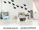 blue rocking chair and stool in ... | Shutterstock . vector #1030149949