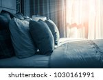 bed maid up with clean white... | Shutterstock . vector #1030161991