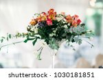 tall glass vase with orange... | Shutterstock . vector #1030181851