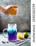 butterfly pea flower blue iced... | Shutterstock . vector #1030182259
