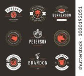 butcher shop logos set vector... | Shutterstock .eps vector #1030192051