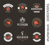 butcher shop logos set vector... | Shutterstock .eps vector #1030192051