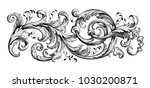 Stock vector vintage baroque victorian frame border tattoo floral ornament leaf scroll engraved retro flower 1030200871