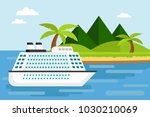 white cruise ship on the sea... | Shutterstock .eps vector #1030210069