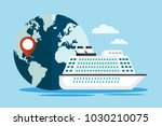 white cruise ship with globe.... | Shutterstock .eps vector #1030210075