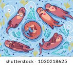 seamless pattern with cute... | Shutterstock .eps vector #1030218625