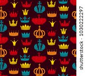 royal crowns cute colorful flat ... | Shutterstock .eps vector #1030222297