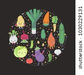 cute cartoon vegetables circle... | Shutterstock .eps vector #1030229131