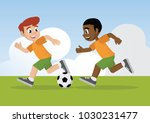 cartoon character  boys playing ... | Shutterstock .eps vector #1030231477