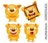 set of yellow cartoon emoji dog ... | Shutterstock .eps vector #1030231621