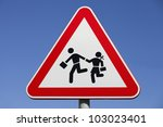 traffic road sign isolated on a ... | Shutterstock . vector #103023401