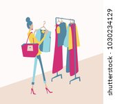 woman shopping new clothes in... | Shutterstock .eps vector #1030234129
