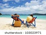 couple on a tropical beach   Shutterstock . vector #103023971