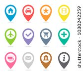 map pin icon set. transport...   Shutterstock .eps vector #1030242259