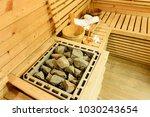 empty sauna room with... | Shutterstock . vector #1030243654