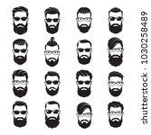 set of vector bearded men faces ... | Shutterstock .eps vector #1030258489
