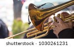 musician with brass trumpet... | Shutterstock . vector #1030261231