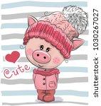 cute cartoon piggy girl in a... | Shutterstock .eps vector #1030267027