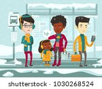 diverse group of sad... | Shutterstock .eps vector #1030268524