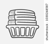 vector hand drawn basket with... | Shutterstock .eps vector #1030268587
