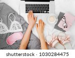 fashion blogger working with... | Shutterstock . vector #1030284475