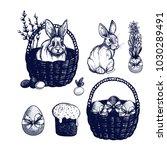 easter symbols set  hand drawn... | Shutterstock .eps vector #1030289491