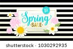 spring sale banner. paper cut... | Shutterstock .eps vector #1030292935