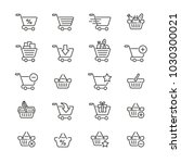 shopping cart and basket  thin...   Shutterstock .eps vector #1030300021