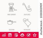 soup ladle  potholder and... | Shutterstock .eps vector #1030303909