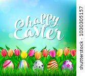 colorful easter eggs on fresh... | Shutterstock .eps vector #1030305157