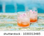 lilac lemonade water with... | Shutterstock . vector #1030313485