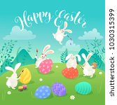 easter greeting card with white ... | Shutterstock .eps vector #1030315399