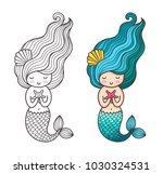 mermaid with starfish. cute... | Shutterstock .eps vector #1030324531