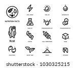 Nutrition facts icon concept clean minimal style set version 2. Flat line symbols of nutrients are common in food products collection. | Shutterstock vector #1030325215