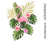 exotic summer print with... | Shutterstock .eps vector #1030330561