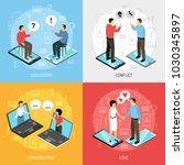 chatrooms online 4 isometric... | Shutterstock .eps vector #1030345897
