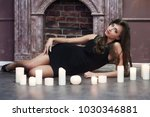 sexy brunette in a dress with... | Shutterstock . vector #1030346881