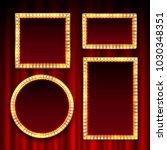 gold frame with light bulbs on... | Shutterstock .eps vector #1030348351