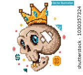 pixel art   rich swag skeleton. ... | Shutterstock .eps vector #1030357324