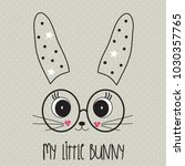 cute bunny face with glasses ... | Shutterstock .eps vector #1030357765