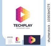 multicolor triangle shape media ... | Shutterstock .eps vector #1030364275