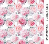 seamless watercolor pink roses... | Shutterstock . vector #1030364311