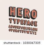3d hero retro vector font... | Shutterstock .eps vector #1030367335