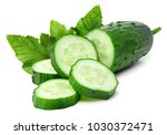 Cucumber And Slices Isolated O...